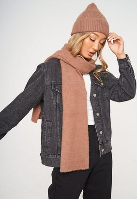 Missguided Mink Rib Fluffy Scarf And Beanie Hat Set