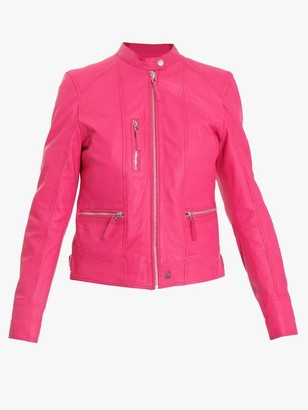Oakwood Each Leather Biker Jacket Fuscia - S
