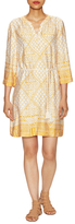 Three Dots Print Tassel Trim Mini Dress