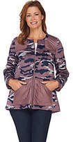 LOGO by Lori Goldstein Brushed Camo Zip FrontJacket