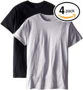 Fruit of the Loom Mens 4Pack TALL Black-Grey Crewneck T-Shirts Undershirt 2XL