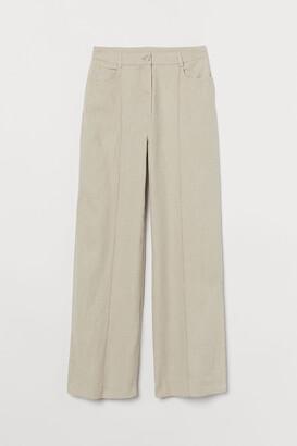 H&M Wide-leg Linen-blend Pants