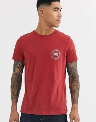 Jack and Jones Originals t-shirt with chest branding-Red