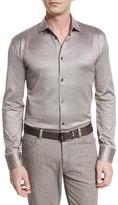 Ermenegildo Zegna Cotton/Silk Long-Sleeve Sport Shirt, Light Brown