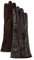 Mario Portolano Leather & Suede Tassel Gloves, Black/Chocolate