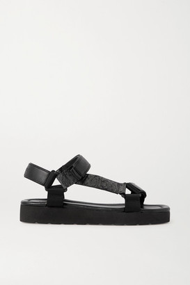Vince Carver Canvas-trimmed Smooth And Lizard-effect Faux Leather Sandals - Charcoal