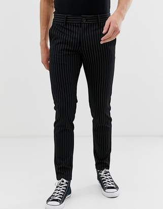 ONLY & SONS slim tailored trouser with pinstripe detail-Black