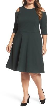 Eliza J Long Sleeve Cold Shoulder Fit & Flare Dress (Plus Size)
