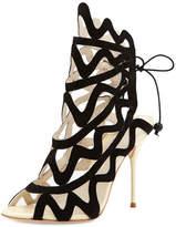 Sophia Webster Mila Suede Cutout Peep-Toe Heel, Black