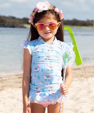 Sun Emporium Girls' Bikini Bottoms Bahama - Blue & Pink Bahama Llama Ruffle Rashguard & Diaper Cover - Infant & Toddler