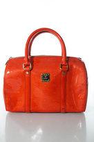 MCM Bright Orange Patent Leather Gold Tone Double Handle Satchel Handbag