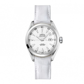 Omega Aqua Terra O23113342004001 Women's Stainless Steel and White Leather Watch