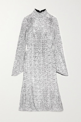 Rebecca Vallance Gatsby Sequined Crepe Turtleneck Midi Dress - Silver