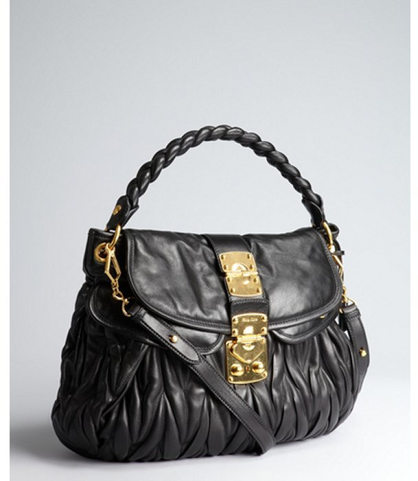 Miu Miu Miu black matelasse leather convertible shoulder bag