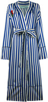 Off-White striped pyjama coat with embroidery - women - Silk/Cotton/Cupro - S