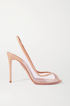 Aquazzura Temptation 105 Leather-trimmed Pvc Slingback Pumps - Pastel pink