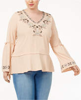 Style&Co. Style & Co Plus Size Embroidered Lantern-Sleeve Top, Created for Macy's