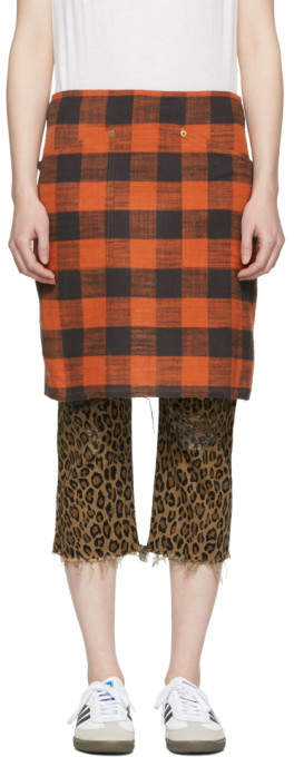 R 13 Red Buffalo Check Apron Skirt