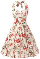 Ensnovo Womens 1950s Style Halter Retro Floral Print Rockabilly Swing Dress , M