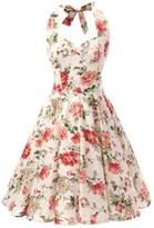 Ensnovo Womens 1950s Style Halter Retro Floral Print Rockabilly Swing Dress Peony, M