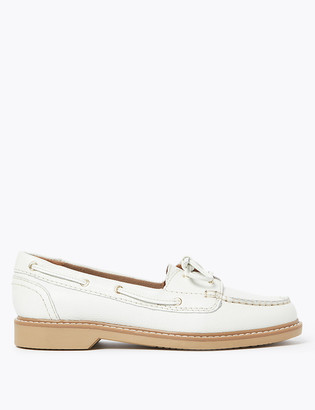 Marks and Spencer Leather Lace Detail Flat Boat Shoes