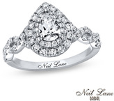 Zales Neil Lane Bridal® Collection 1-1/8 CT. T.W. Pear-Shaped Diamond Frame Twist Engagement Ring in 14K White Gold