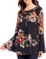 Miss Me Floral Printed Bell Sleeve Top