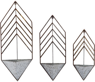 Transpac Set Of 3 Metal Silver Spring Geometric Nested Planters