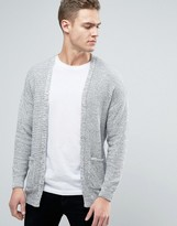 Pull&bear Knitted Cardigan In Grey
