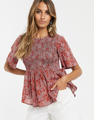 Y.A.S smock fluted sleeve top-Multi