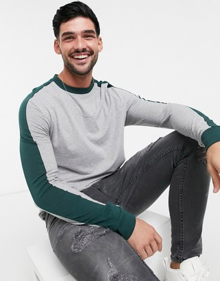 ASOS DESIGN long sleeve t-shirt with shoulder panel in gray marl