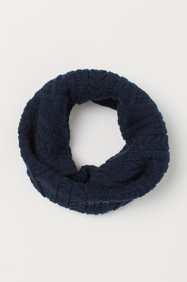 H&M Cable-knit Tube Scarf - Blue