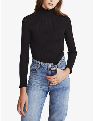 Claudie Pierlot Tulle-trimmed high-neck knitted jumper