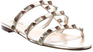 Valentino Rockstud Metallic Leather Sandal