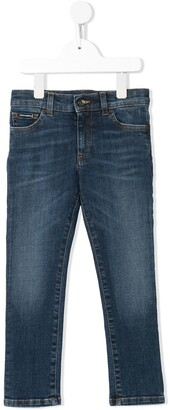 Dolce & Gabbana Embroidered Logo Slim-Fit Jeans