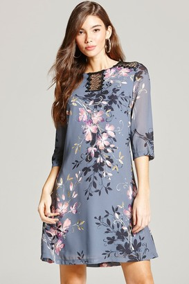 Little Mistress Grey Floral Print and Lace Tunic Dress
