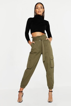 boohoo Paperbag D-Ring Belted Cargo Pants