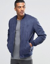 Asos Faux Suede Bomber Jacket In Navy