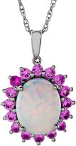 JCPenney FINE JEWELRY Sterling Silver Lab-Created Opal & Pink Sapphire Pendant Necklace