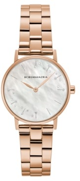 BCBGMAXAZRIA Ladies Round Rose Goldtone Stainless Steel Bracelet Watch, 32mm
