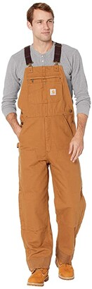 Carhartt Quilt Lined Washed Duck Bib Overalls Brown) Men's Overalls One Piece