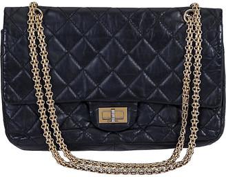 One Kings Lane Vintage Chanel Reissue Black Gold Jumbo Flap Bag - Vintage Lux