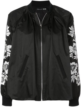 Josie Natori Embroidered Detailed Bomber Jacket