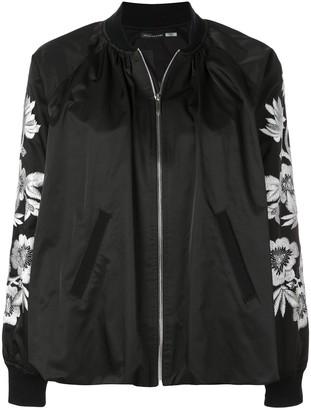 Josie Natori embroidered detailed bomber jacket