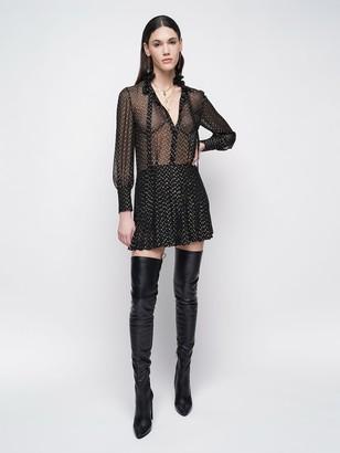 Saint Laurent Lurex Dot Silk Sheer Muslin Mini Dress
