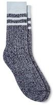 Merona Women's Crew Socks Xavier Navy Stripe Brushed for Warmth One Size