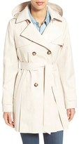 Women's Halogen Detachable Hood Trench Coat