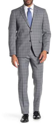 Tommy Hilfiger Grey Blue Plaid Two Button Notch Lapel Slim Fit Suit