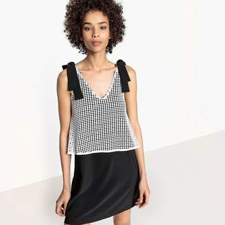 La Redoute Collections Laced Layered Dress with Tie Straps