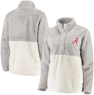 Women's Gray/White Alabama Crimson Tide Fuzzy Fleece Colorblocked Four-Snap Pullover Jacket